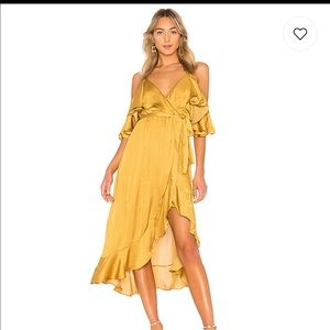 Bardot bea wrap dress - gold XS